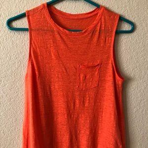 A new day orange linen tank top